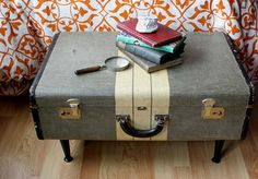 vintage suitcase DIY table