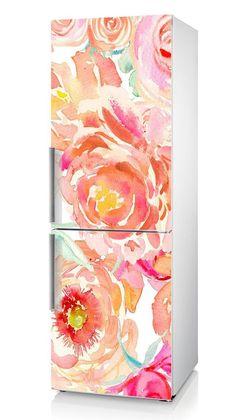 Fridge Vinyl Sticker *** China Rose *** - *** The Irises *** / Self-Adhesive Vinyl Refrigerator Deca Refrigerator Makeover, Paint Refrigerator, Refrigerator Wraps, Painted Fridge, Farmhouse Furniture, Kitchen Furniture, Furniture Cleaning, Kitchen Interior, Fridge Decor