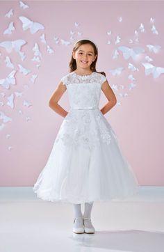 Main Image - Joan Calabrese for Mon Cheri Floral Appliqué First Communion Dress (Little Girls & Big Girls)