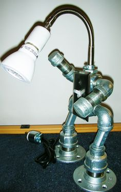 Robot Desk Light/Lamp/Led Steam Punk / by NowThatsNeat on Etsy