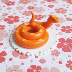 Orange Fruit Snake. Handmade from Polymer Clay by The Clay Kiosk on Etsy.