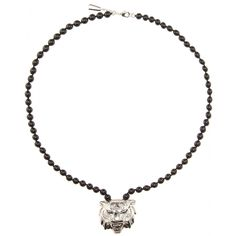 Roberto Cavalli - Embellished necklace - This silver-tone tiger necklace from Roberto Cavalli is embellished with delicate white crystals and hangs from glossy black beads. Let it stand out against a white dress for a look that's sure to have all eyes on you. seen @ www.mytheresa.com
