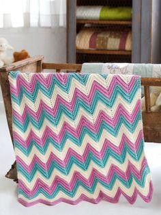 Zig Zag Baby Blanket | Yarn | Free Knitting Patterns | Crochet Patterns | Yarnspirations