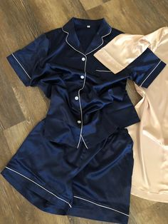 shop: Satin Pajamas - Bridal Party Pajamas - Bridesmaid Short Sets - Solid Satin - Pajama Bridal Party- Monogrammed Bridesmaids PJs Navy Blush Excited to share this item from my Silk Pjs, Satin Pajamas, Bridesmaid Pyjamas, Bridal Party Pajamas, Night Suit, Night Wear, Cute Sleepwear, Cute Lazy Outfits, Casual Outfits