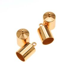 Gold Plated Barrel Cord Ends With Ring 12mm Long - Fits Up To 6.5mm Cord (4)