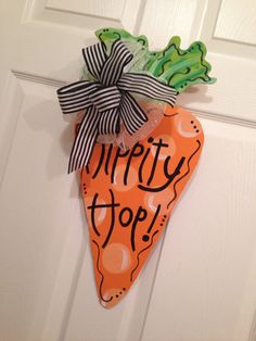 Easter Carrot Door Hanger Happy Easter Decor Wooden Wreath Wood Cut Out Customized