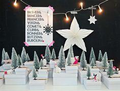 Wieder auf den letzten Drücker - mein selbstgemachter Adventskalender Winterwunderwald mit Schneetannen und Plastiktierchen.