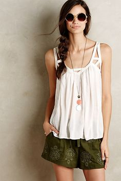 Cut-Out Gauze Tank #anthropologie