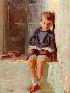 Boy reading. Alexandros Christofis (1882-1953) Greek painter.