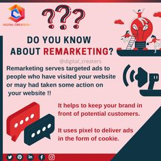 Remarketing helps you to target the specific kinds of the audience that have visited your website earlier. It assists you to frame your brand in front of customers that can be interested in a particular domain.Stay tunned for more information regarding digital markting, Marketing or social media marketing. #remarketing #marketingdigital #digitalmarketing #marketing #retargeting #socialmediamarketing #socialmedia #marketingonline #googleads #seo #business #onlinemarketing #digitalcreaters