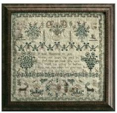 Eliza Mitchell is the title of this cross stitch pattern from La D Da that is stitched with DMC and NPI Silks (159/2, 182/2, 973/2, 143, 221, 224, 292, 901, 902, 957 and 963).