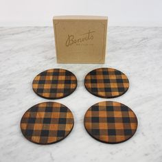 Laser Engraved Buffalo Plaid Birch Wood Coaster. Sold in a set of four, gift box included.