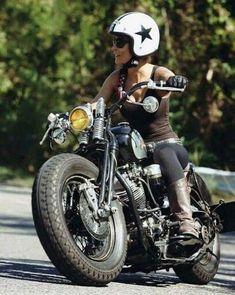 Old school cool Custom Built Harley Davidson Bobber & Chopper Bikes Motorbike Girl, Chopper Motorcycle, Motorcycle Outfit, Women Motorcycle, Bobber Chopper, Motorcycle Helmets, Harley Bobber, Harley Davidson Motorcycles, Harley Gear