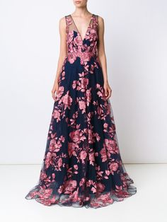Marchesa Notte embroidered flower gown