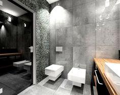 salle de bain noir, blanc et gris avec wc et bidet suspendus carrés