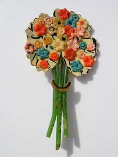 Vintage Painted Celluloid Flower  Bouquet Brooch Pin