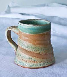 Wood Fired Mug  green rim by AnneBeyerCeramics on Etsy, $28.00
