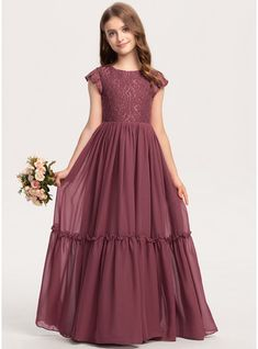 JJsHouse A-Line Scoop Neck Floor-Length Chiffon Lace Junior Bridesmaid Dress With Cascading Ruffles Girls Dresses Sewing, Gowns For Girls, Frocks For Girls, Dresses Kids Girl, Girls Frock Design, Kids Frocks Design, Stylish Dress Designs, Stylish Dresses, Fancy Dress For Teens