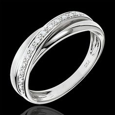 joaillerie Alliance 3 anneaux or blanc Trifolie - 13 diamants