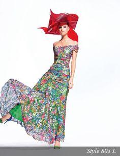 Long floral lace dress, style 803 L.