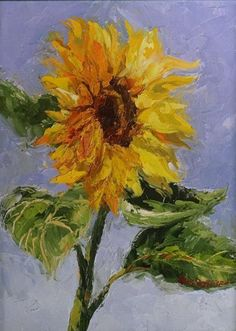 'Happy Flower' by Erin Dertner | Original Oil Painting of a bright and colorful sunflower ~ 9 x 12 | Available for sale $175