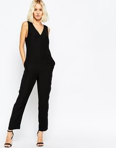 ASOS Jumpsuit with V-Neck and Banded Side