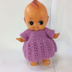"""Kewpie Doll Made in Japan Vinyl 9.5"""" Vintage Homemade Dress Purple #Kewpie #Dolls"""