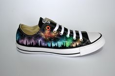 Check out our converse custom selection for the very best in unique or custom, handmade pieces from our shops. Galaxy Converse, Rainbow Converse, Navy Converse, Galaxy Shoes, Custom Converse, Converse Low Tops, Custom Shoes, Converse Shoes, Converse Style