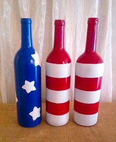 Flag Wine Bottle on Etsy, $15.00