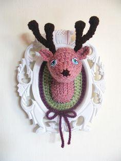 knitted deer head by manafka on Etsy Girls Weekend, Weekend Fun, Crochet Deer, Crochet Hats, Bambi, Antlers, Horns, Sheep, Tea Party