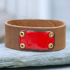 Leather Cuff Bracelet Copper Enamel Brown Green by Venbead on Etsy (Accessories, Cuff, Leather, leather cuff, bracelet, copper rectangle, rustic, riveted, enamel, enameled jewelry, dude, unisex, men, brown, venbead, red)