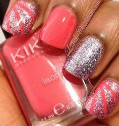 Peach Nails with Silver Stripes (Peach polish is Kiko - 360 and Silver Polish is Étude House - Extreme Jewel) - bellashoot.com