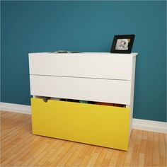 Nexera Taxi 2-Drawer Chest with Mobile Storage Trunk in White and Yellow - Find it at Cymax!