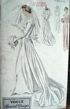 1950 BEAUTIFUL BRIDES DRESS WEDDING GOWN PATTERN VOGUE SPECIAL DESIGN 4017 (this looks just like my grandmother's dress)