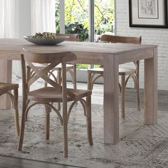 FREE SHIPPING Give your dining room a rustic modern farmhouse look with the warmth of this Solid Wood Dining Table. This versatile and neutral design goes well with several chair types, features robus