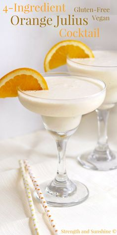 Give your Orange Julius a grown-up boozy twist! A quick and easy 4-Ingredient Orange Julius Cocktail recipe that's gluten-free, vegan, and makes for a perfect frozen, creamy, and fruit treat! A sippable Creamsicle for adults only!