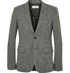 Saint Laurent - Grey Slim-Fit Leather Elbow Patch Herringbone Wool-Tweed Blazer | MR PORTER