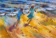 Playing in the Waves by Francis Bowyer PPRWS Hon RE