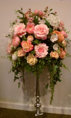 Wedding Floral Arrangement Large 4ft. Silver Candleabra with Beautiful Pastel Silk Flowers