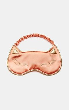 Cat Nap Silk-Satin Slippers and Eye Mask in Rose Gold!