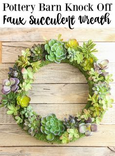 Pottery Barn Knock off Faux Succulent Wreath tutorial at the happy housie