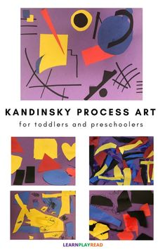 Process Art for toddlers and preschoolers This Kandinsky process art project is a wonderful way to practice colors and sounds. With your little ones, you can introduce cutting, improve fine motor skills, and create a masterpiece worthy of Kandinsky. Art Activities For Kids, Art For Kids, Process Art Preschool, Preschool Art Lessons, Kindergarten Art, Art Education Projects, Education Quotes, Kandinsky Art, Montessori Art