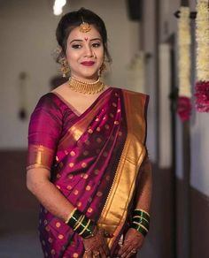 Beautiful bride... ----------------------------------------- - In frame.@amruta2809 Cilck by.@knotsforever MUA.@makeupartist_amruta2121… Kanjivaram Sarees Silk, Indian Silk Sarees, Banarsi Saree, Georgette Sarees, Marathi Bride, Marathi Wedding, Wedding Dress, Saree Wedding, Wedding Saree Blouse Designs