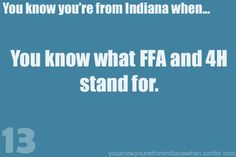 FFA- Future Farmers Of America... Well it did... Not now    4-H- Head Hands heart and Health!