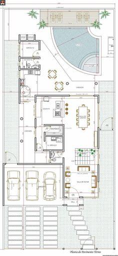 Sobrado 0 Quartos - 326.24m² Detail Architecture, Architecture Drawings, Architecture Plan, Craftsman Floor Plans, House Floor Plans, Autocad, Small Villa, Apartment Plans, Farmhouse Plans