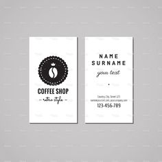 Coffee shop business card design concept. Logo-badge with coffee bean stock vector art 69485087 - iStock