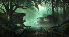 Full HD Photos + Drawings, Green, Houses, Trees, by Andree Wallin, Swamps
