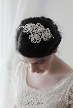 Vintage Style Rose Flower Wedding Bridal Jewelry Haircomb by LAmei