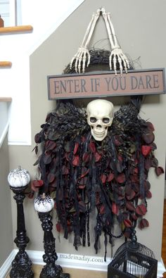 DIY Gothic Wreath easy craft #spookyspaces madeinaday.com