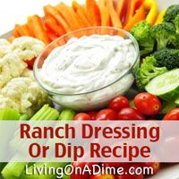 Homemade ranch dressing is quick and easy to make and is versatile for salads, vegetables and lots of other foods. It also makes an easy a party dip! You can make it at home for around $1.00. Click here for this #recipe your family will LOVE! http://www.livingonadime.com/ranch-dressing-recipe-dip/